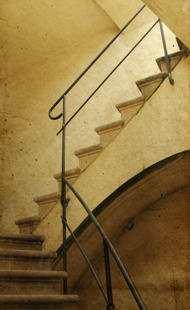 old  staircase  image in old image style  photo