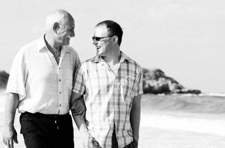 sons and grandsons: father and son on a beach