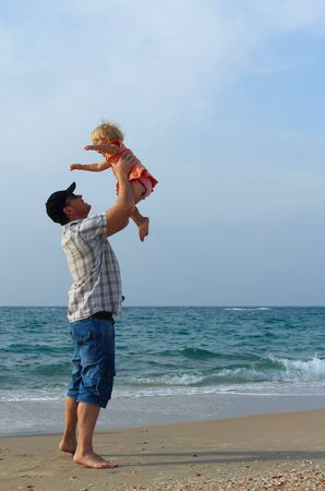 father and daughter on vacation at sea Stock Photo - 16299700