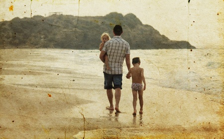 father with two kids on vacation at sea  Photo in old image style Stock Photo - 18206688