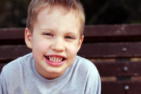 Outdoors portrait of cute 5 years old child boy Foto de archivo