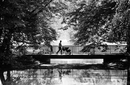 父は公園で二人の子供と歩きます。秋。