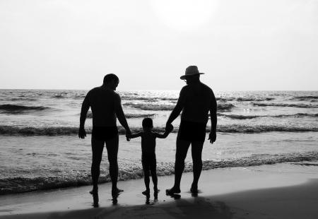 gay men: feliz al aire libre de la familia