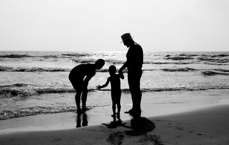 sons and grandsons: happy family outdoors
