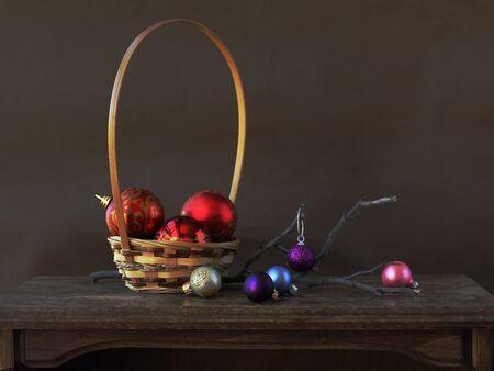 Christmas decorations on dark background photo