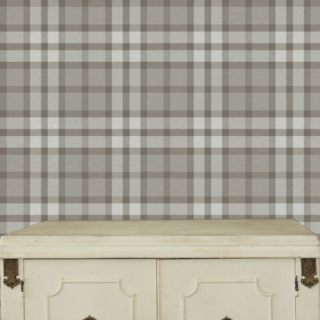 Background with wooden deck table on Scottish plaid Background photo