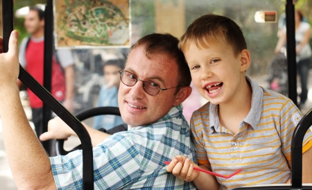 父と息子の屋外の肖像画 写真素材