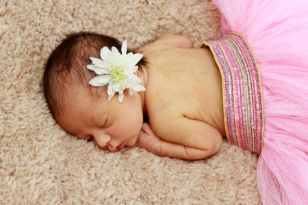 Portrait of newborn sleeping baby photo