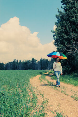 Woman with umbrella photo