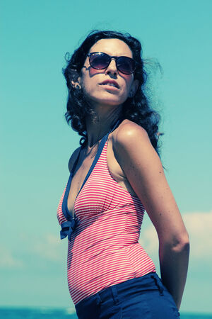 35 years old: Portrait of beautiful 35 years old woman at the beach Stock Photo