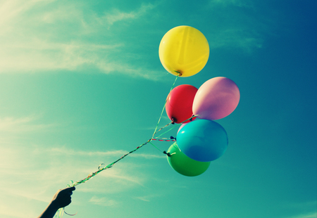 background photo: close up of colorful balloons