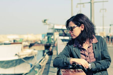 35 years: Portrait of beautiful 35 years old woman traveling