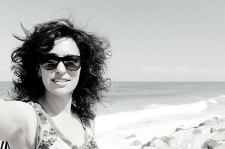 35 years: selfie portrait of beautiful 35 years old woman. Stock Photo