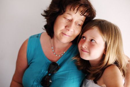 nine years old: Portrait of mother and daughter