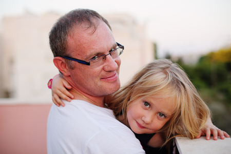 Cute portrait of father with his daughter Stock fotó