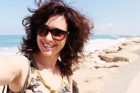 35 years old: selfie portrait of beautiful 35 years old woman