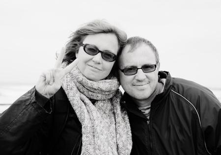 35 40: Portrait of happy midage couple on vacation Stock Photo