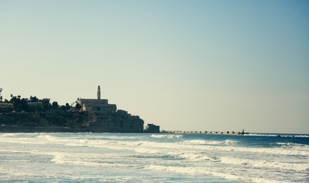 jaffa: Wallpaper with winter sea and old Jaffa