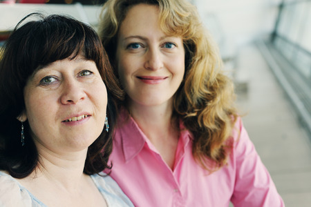 40 years: Portrait of two beautiful real 40 years old women