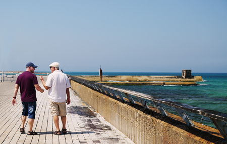 adult son and father walking together near the sea Stock Photo