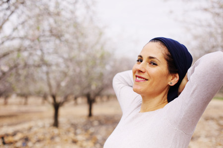 religious clothing: Outdoor portrait of 40 years old woman Stock Photo