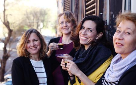 Women best friends smiling, drinking morning coffee Stock fotó