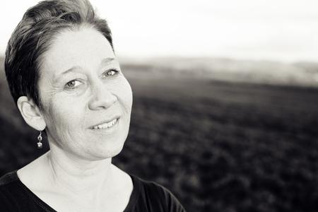Portrait of beautiful mature woman outdoors Stock fotó