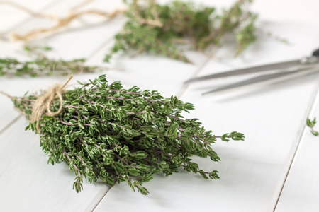 Thyme bunch and scissors on wooden table. Selective focus.