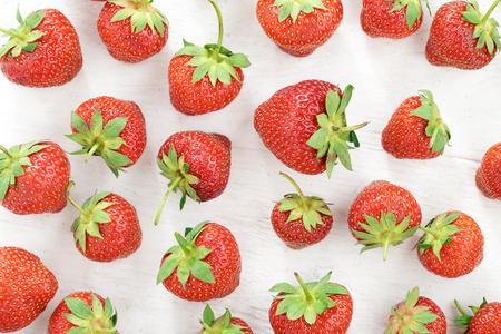Fresh strawberry pattern on white paper background. Stock Photo