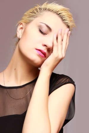 beautiful blonde woman posing closing