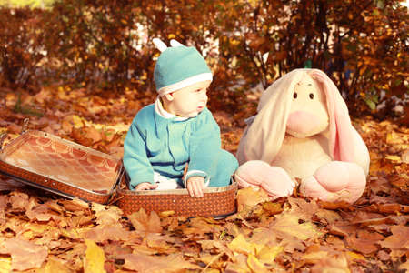 Little boy in nature sitting in open suitcase. Outings - the forest in autumn. Nearby are big hare toy