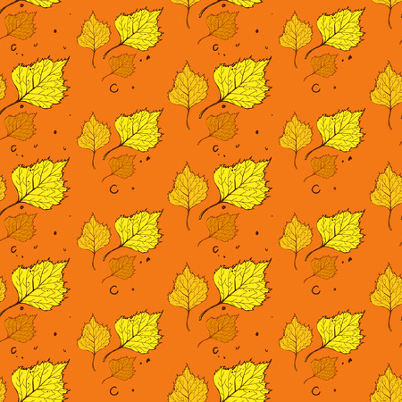 sienna: Pattern of birch leaves Illustration