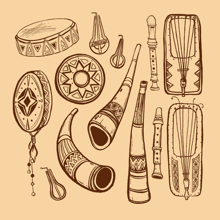 antiquities: musical instruments brown outline on beige background