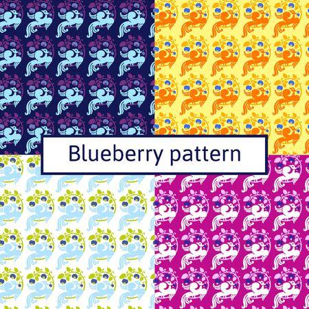 blumen verzierung: vier Ansichten der Heidelbeere Muster Blumenverzierung