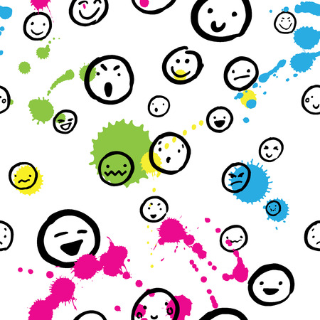 splotches: Pattern with faces and colour blots on white background