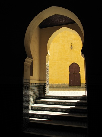 portals: Traditional Moroccan doorway with stairs and shadow  Tomb of Moulay Ismail  Meknes, Morocco