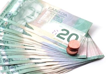 pennies: Twenty Canadian dollars and pennies Stock Photo