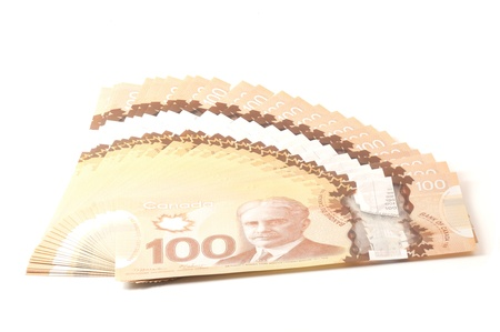 canadian cash: 100 dollars Canadian bank notes in polymer