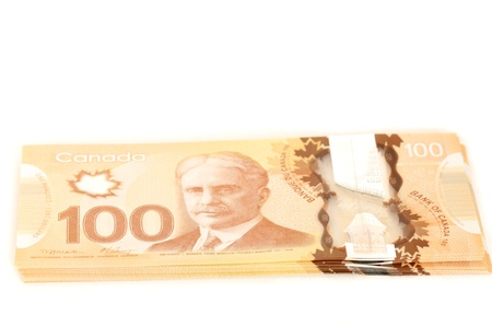 recto and verso 100 dollars Canadian bank notes in polymer photo