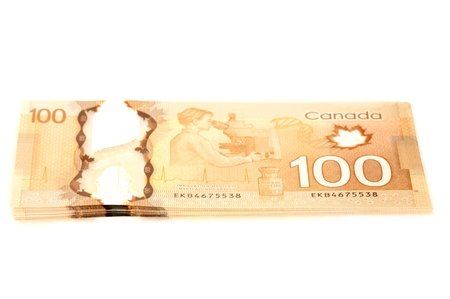 canadian currency: recto and verso 100 dollars Canadian bank notes in polymer Stock Photo