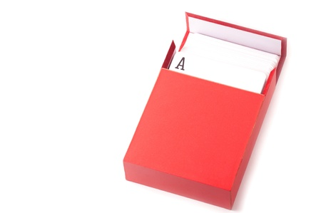 business cards: A pack of card inside a red box isolated on white background