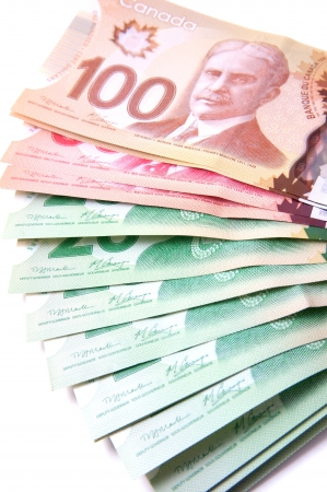 Canadian bank notes, 20, 50 and 100 dollars Stock Photo