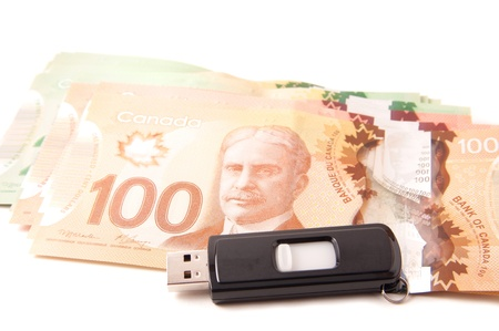 e commerce: Canadian bank notes, 20, 50 and 100 dollars Stock Photo