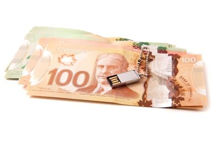 Canadian bank notes, 20, 50 and 100 dollars photo