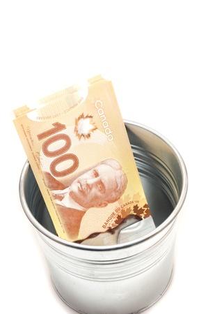 aluminium: Hundred Canadian dollar bills in an aluminium  pot