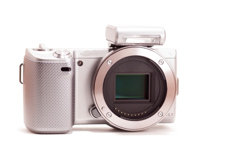 Mirrorless DSLR without lens isoalted on white background