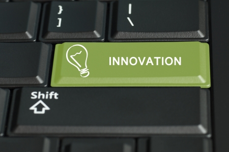 e commerce: Concept of innovation call to  action   The focus is on the enter key with the shift button on the bottom