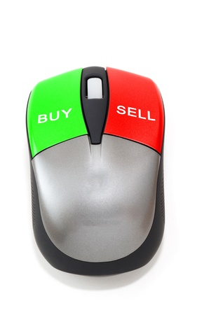 sell: Buy and sell concept with mouse buttons
