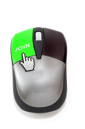 Hand cursor clicking on join button photo