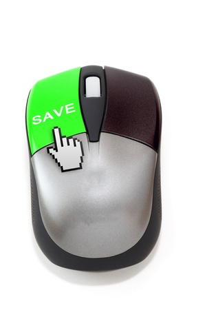 Hand cursor clicking on save button Imagens